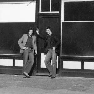 David Panton and Jonathan Harvey outside 117 Devons Road, E3 one of the first two Acme houses and first office. Photo: Claire Smith (1974)